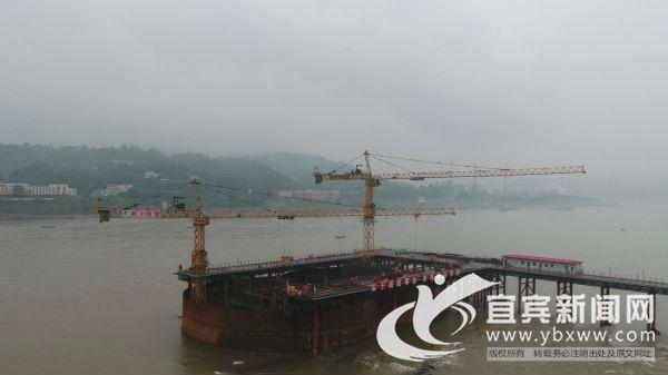 临港长江大桥3#主墩。(陈柳源 摄)
